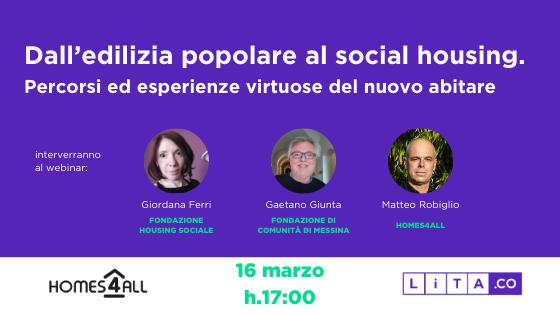 Dall'edilizia popolare al social housing: evento con Fondazione Housing Sociale Milano, Fondazione di Comunità di Messina, Homes4All